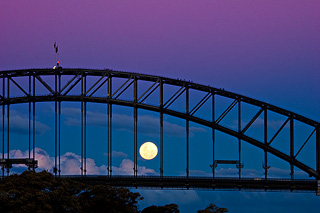Moonrise through the bridge